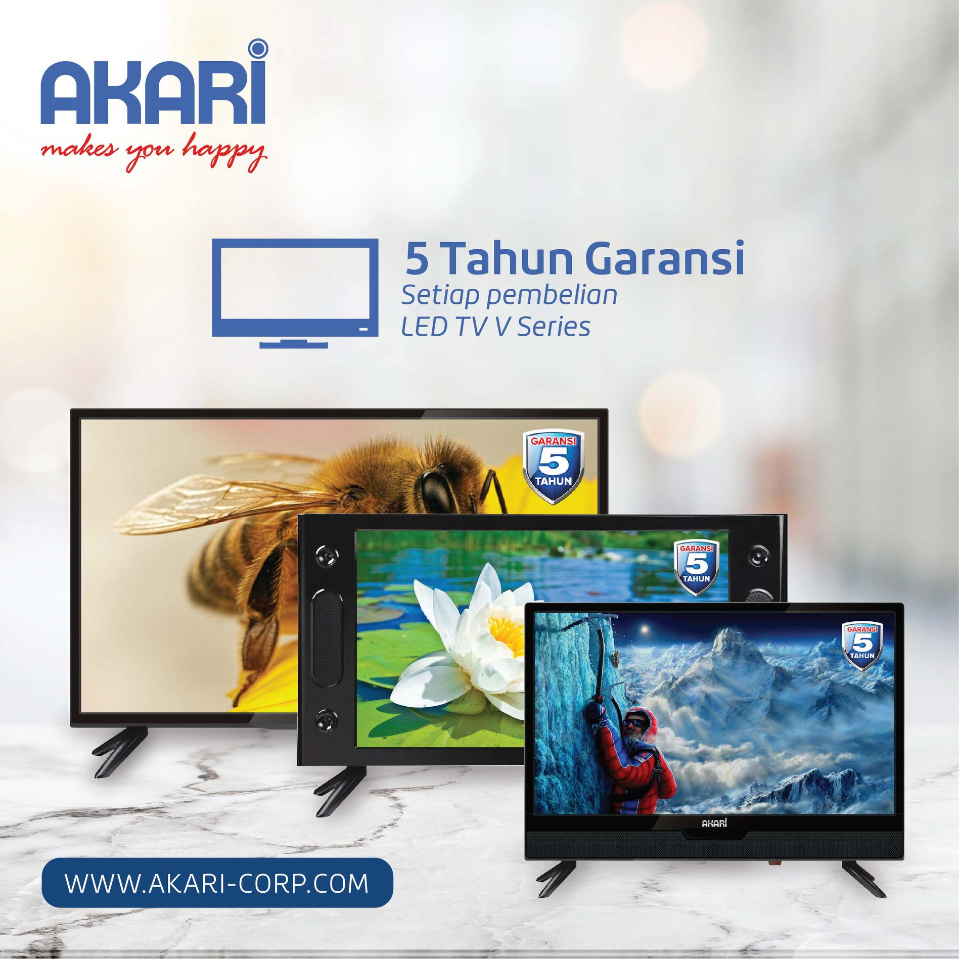 Home Akari Remote Tv Led V Series Garansi Panel Selama 5 Tahun